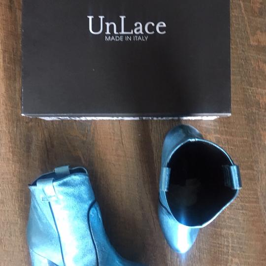 Unlace Metallic Ankle Leather Blue Boots Image 8