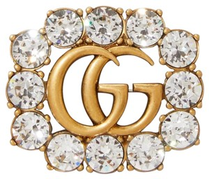 Gucci NEW GUCCI CRYSTAL GOLD GG LOGO BROOCH PIN NWT BOX