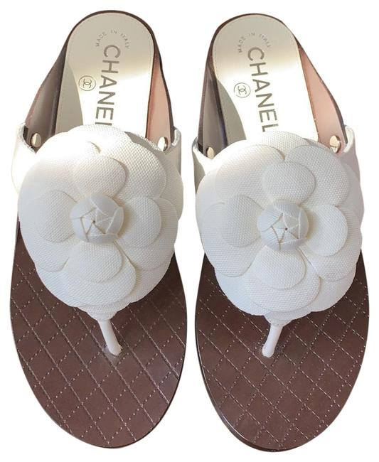 Item - White Thongs Camellia Linen Flats 36c Sandals Size EU 36 (Approx. US 6) Wide (C, D)