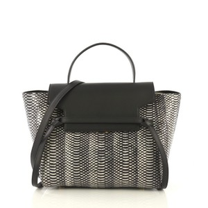 Céline Belt Snakeskin Satchel in black