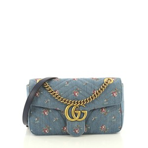 Gucci Gg Marmont Flap Matelasse Denim Shoulder Bag