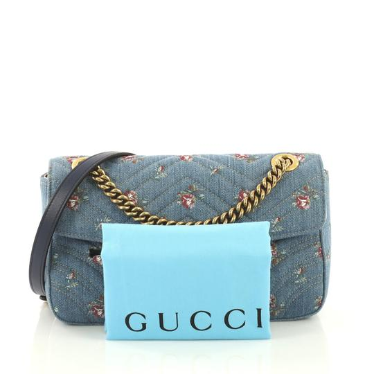 Gucci Gg Marmont Flap Matelasse Denim Shoulder Bag Image 1