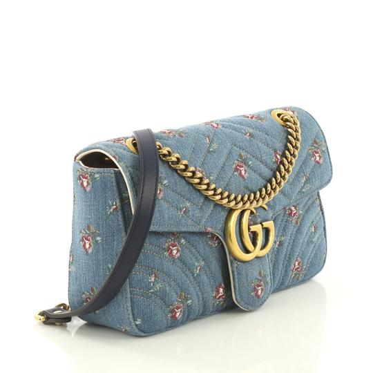 Gucci Gg Marmont Flap Matelasse Denim Shoulder Bag Image 2