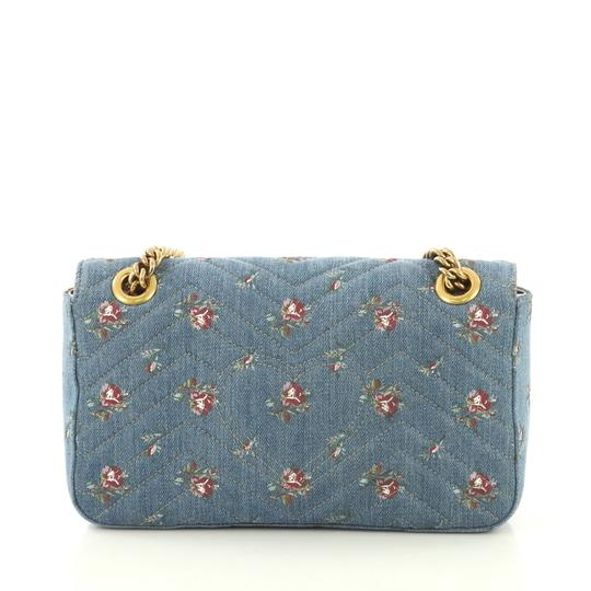 Gucci Gg Marmont Flap Matelasse Denim Shoulder Bag Image 3