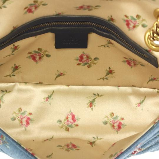 Gucci Gg Marmont Flap Matelasse Denim Shoulder Bag Image 5