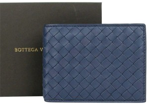 Bottega Veneta Blue Leather Intercciaco Woven Bifold Wallet 148324 4130