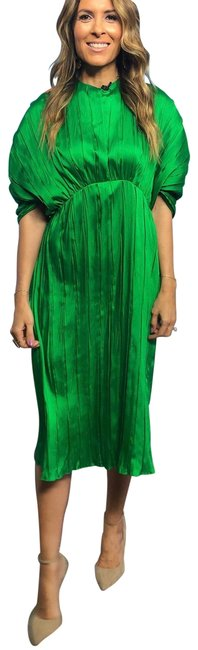 Item - Green Pleated Mid-length Night Out Dress Size 12 (L)