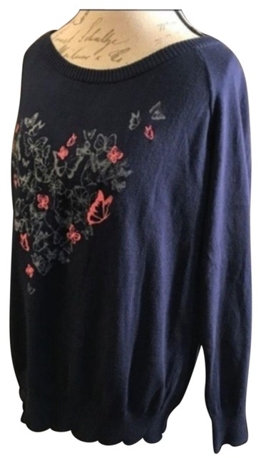 Item - Navy Heart Butterfly 14-16 Blue & Pink Sweater