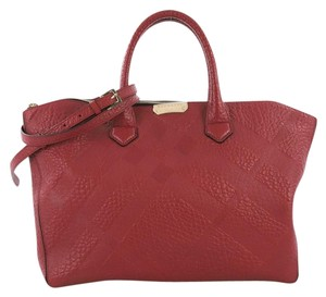 Burberry Leather Tote in red