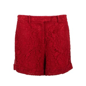 Valentino Floral Embroidered Lace Cotton Cuffed Shorts Red