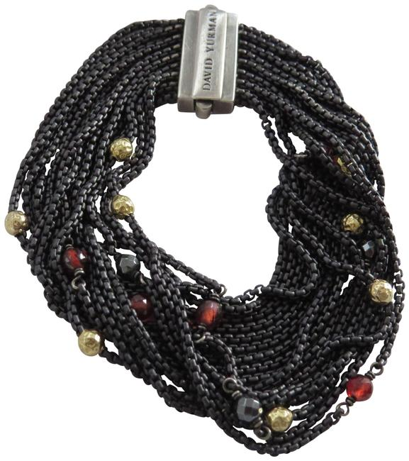 Item - Black/Gold/Red W Refurbished By Dy 16 Row Blacked Ss Chain W/Garnet/Hematine/Gold Bracelet