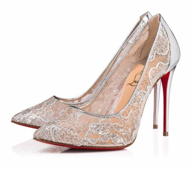 Item - Silver Follies Lace Dentelle Lurex Metallic Lace Heels B783 Pumps Size EU 37 (Approx. US 7) Regular (M, B)