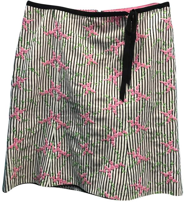 Item - Black White Pink Green Striped Floral Skirt Size 2 (XS, 26)