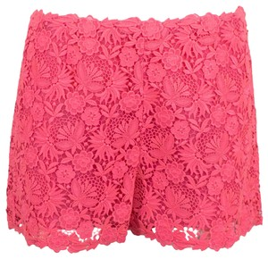 Valentino Floral Embroidered Polyester Detail Mini/Short Shorts Pink