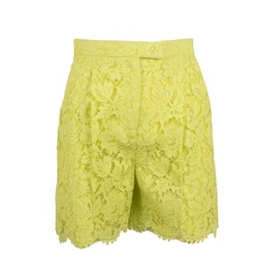 Valentino Floral Embroidered Lace Cotton Viscose Mini/Short Shorts Yellow Green