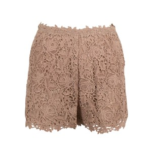 Valentino Floral Embroidered Polyester Detail Mini/Short Shorts Beige