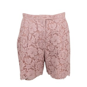 Valentino Floral Embroidered Lace Cotton Viscose Mini/Short Shorts Pink
