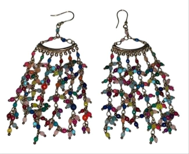 Item - Gold and Multi L L'imperatrice Dipped Agate Earrings