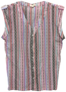 Tulle Sleeveless Epaulets Western Print Striped Button Down Shirt Multi-Color