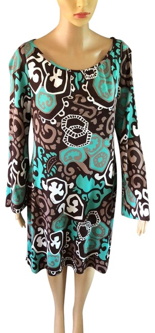 Item - Brown/White/Teal Mid-length Night Out Dress Size 12 (L)