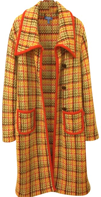 Item - Multicolored Vivid Orange Red/Yellow Red/Yellow Open Knit Long Wool Coat Size 8 (M)