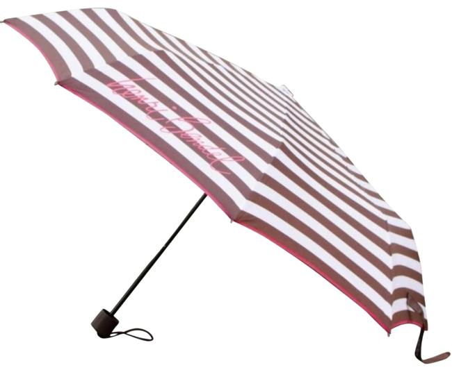 Item - Brown White Stripe Pink Centennial Travel Compact Packable Umbrella