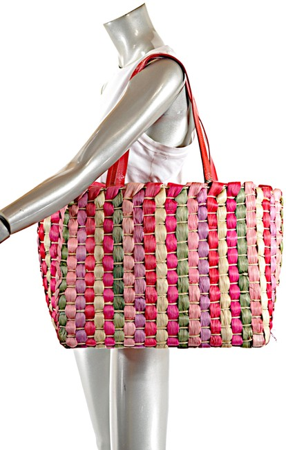 Item - Bag Multicolor Woven with Patent Leather Trim Red Multi Straw Tote
