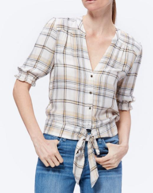 Paige Plaid Cowgirl Country Summer Top Beige Image 3