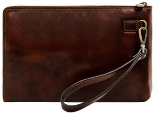 TIME RESISTANCE Men's Leather Men's Leather BROWN Clutch