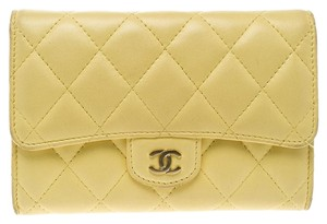 Chanel Yellow Quilted Leather Flap Wallet
