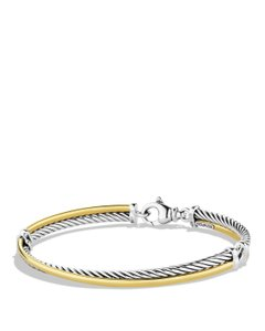 David Yurman 18k Gold Crossover 750 925 Sterling Silver Bracelet Cable Classics