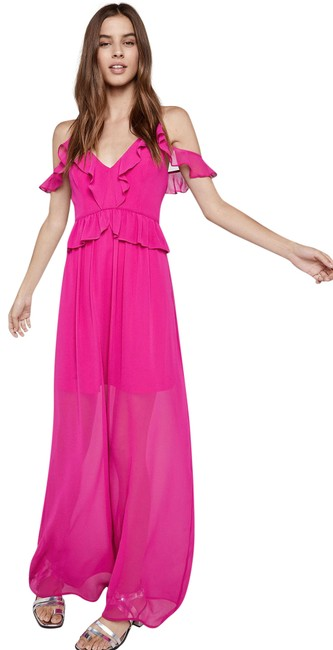 Item - Pink Short-sleeve Cold-shoulder Chronoarc F Long Casual Maxi Dress Size 8 (M)