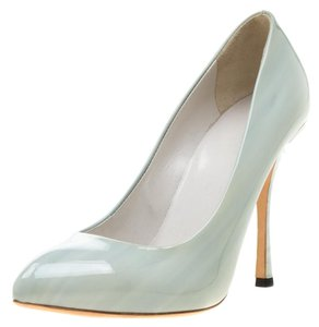 Gucci Patent Leather Pointed Toe Leather Green Pumps