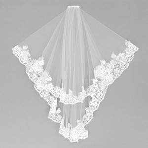 White Long 2 Tier Lace Trim Sequin Details Bridal Veil