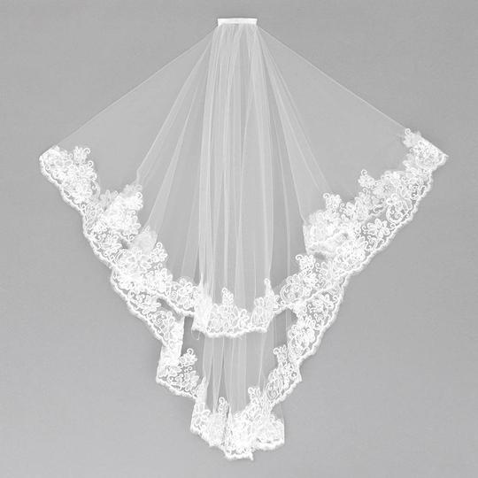 White Long 2 Tier Lace Trim Sequin Details Bridal Veil Image 1