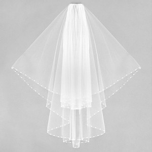 White Long 2 Tier Beaded Pearl Trim Bridal Veil