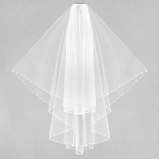 White Long 2 Tier Beaded Pearl Trim Bridal Veil Image 1
