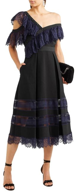 Item - Black/ Blue New One-shoulder Guipure Lace and Crepe Midi Long Cocktail Dress Size 2 (XS)