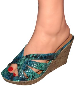 Fashion Bug Sandals Snakeskin Snakeskin Sandals Aqua Wedges
