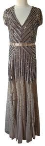 Adrianna Papell Embellished Embroidered Sequin Beaded Ball Gown Dress
