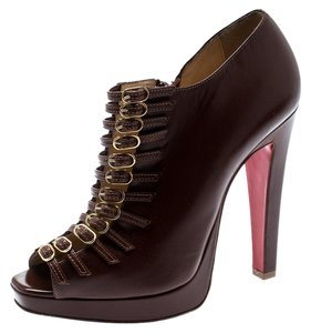 cabe494f3 Christian Louboutin Leather Detail Open Toe Brown Boots