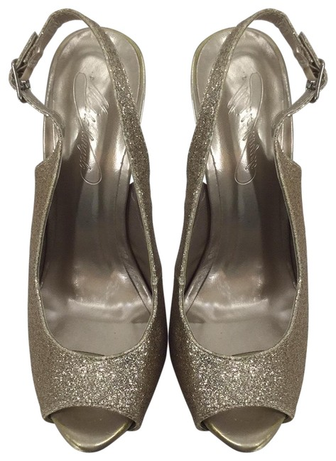 Item - Gold Glitter Vice Peep Toe Slingback Heel Platforms Size US 6 Regular (M, B)