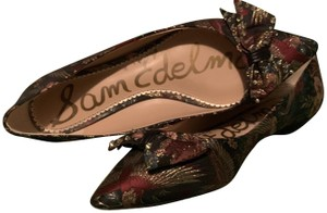 Sam Edelman Fabric Leather Soles Bow Tie Pointed Toe Multi Flats