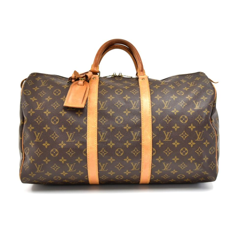 2b25d7c71 Louis Vuitton Keepall Duffle Vintage 50 Brown Monogram Canvas ...