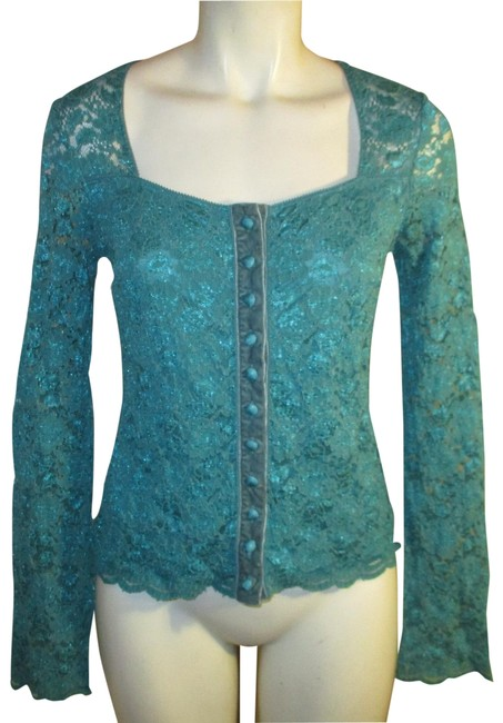 Item - Stretch Sheer Lace Cardigan Teal Top