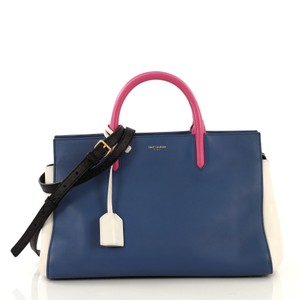 Saint Laurent Rive Gauche Cabas Leather Small Satchel in blue and white