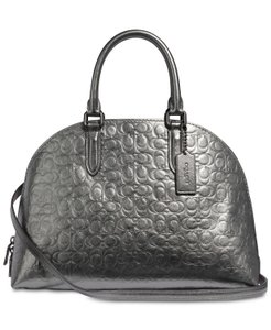Coach Leather Metallic Embossed Leather Satchel in Grey