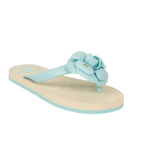 Chanel Floral Quilted Logo Summer Blue/Ivory Sandals
