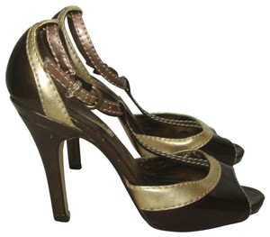 Steve Madden Peep Toe T-strap High Heels Strappy Wine, Gold, Copper Sandals