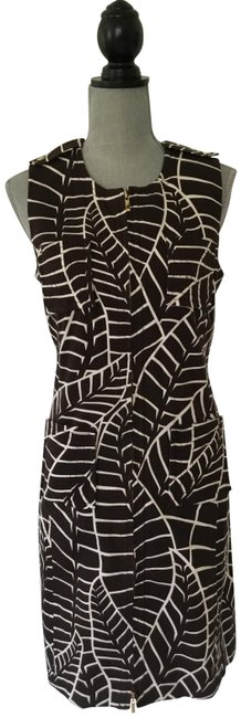 Item - Brown and White Fabulous Mid-length Work/Office Dress Size 10 (M)